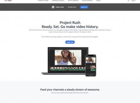 Adobe、オールインワンビデオエディター「Project Rush」を発表