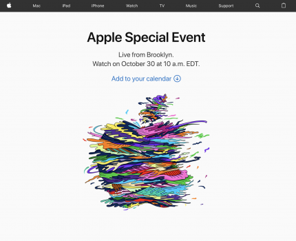 「Apple Special Event」が10月30日に開催