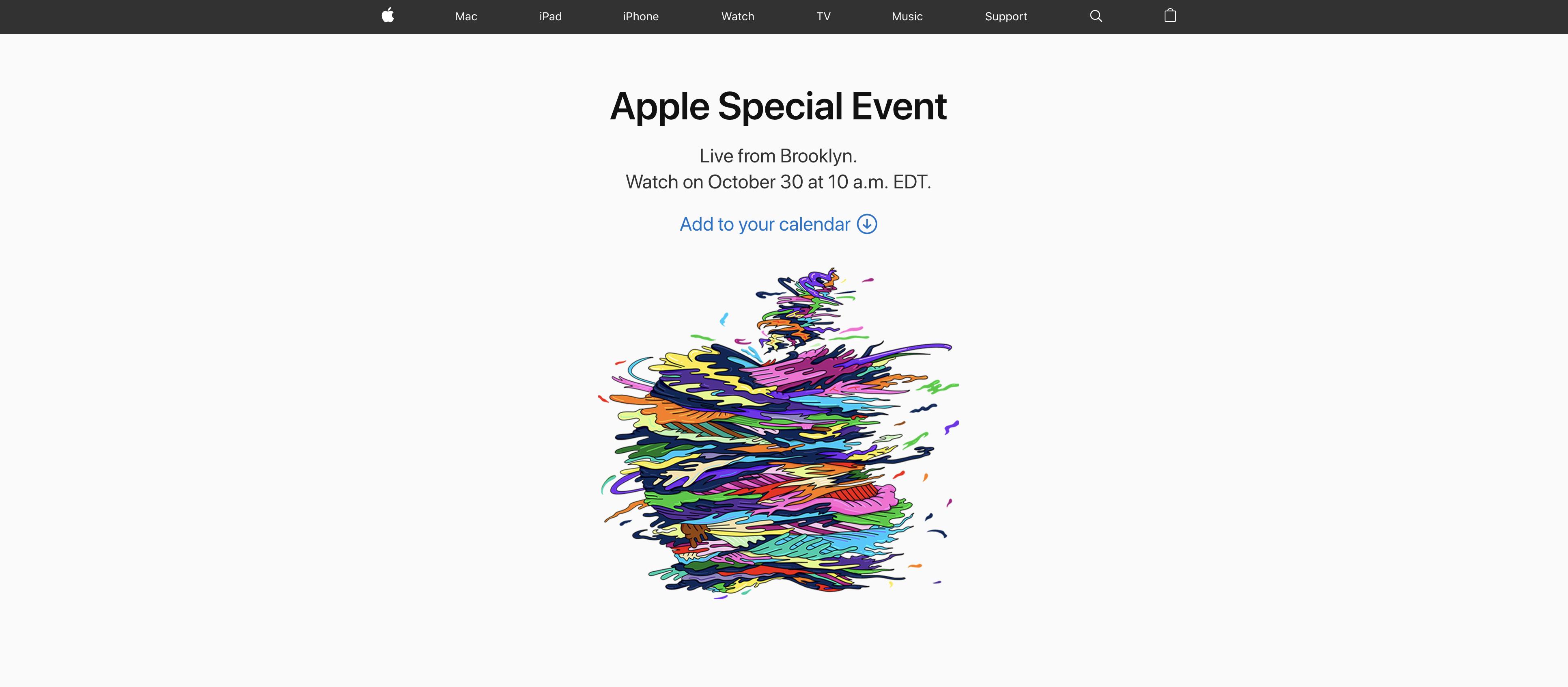 「Apple Special Event」が10月30日に開催