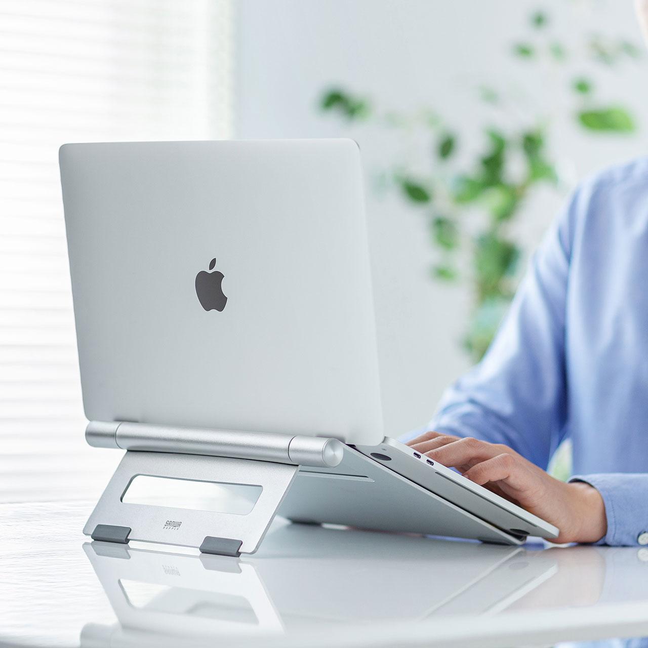 負担を軽減するアルミ製ノートパソコンスタンドがサンワサプライより発売
