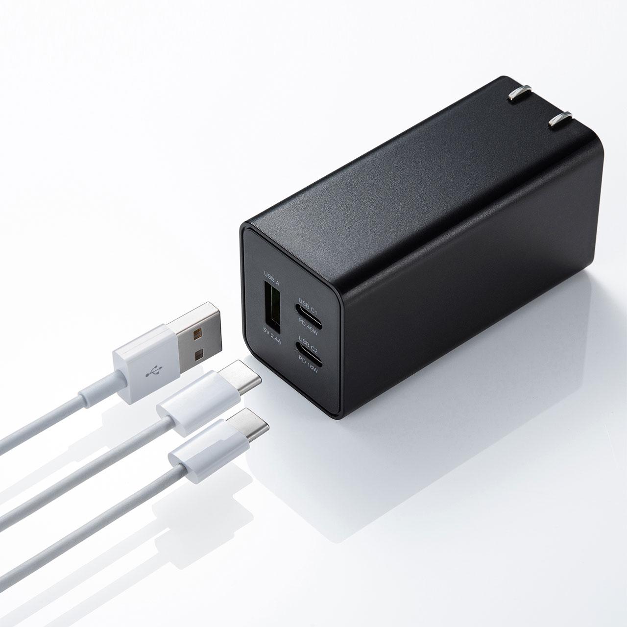 サンワサプライ、PD45W出力対応のGaN採用AC充電器「ACA-PD73BK」を発売