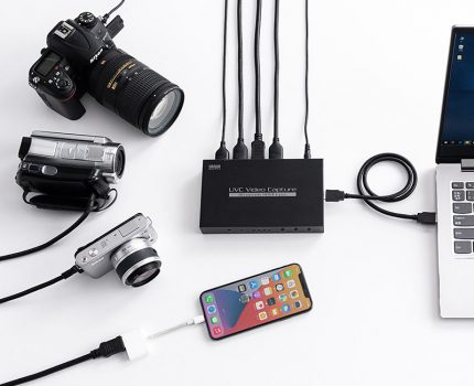 サンワサプライより、1台で4台のカメラに接続できるUSB-HDMIキャプチャーが発売