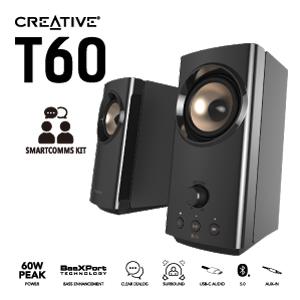 クリエイティブ、USBオーディオ内蔵PCスピーカー「Creative T60」を発売
